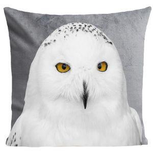 COUSSIN ARTPILO - Coussin SNOWY OWL Coton déperlant - Gris