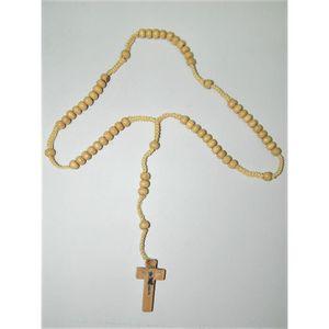 CHAPELET chapelet en bois grains ronds beige 6mm sur corde