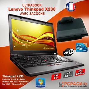 ORDINATEUR PORTABLE LENOVO Thinkpad X230 - i5 2.6GHz 8Go 320Go WIFI Wi