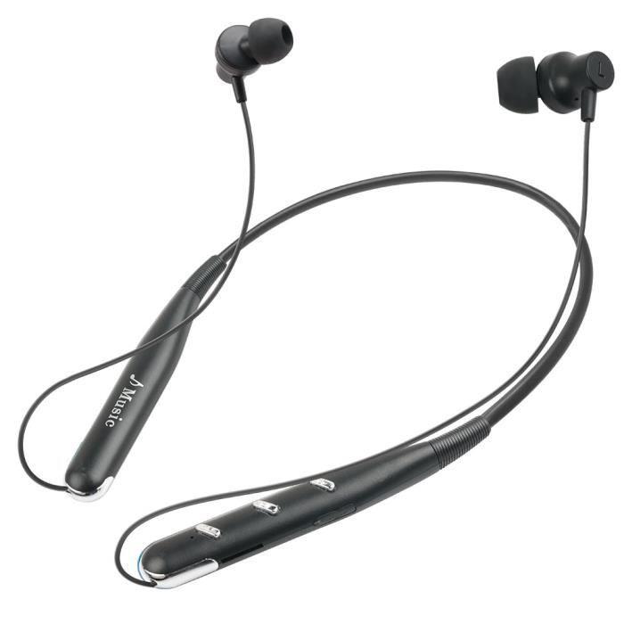Bluetooth V5.0 Écouteur Oreillette Stéréo 10m Carte Tf -blanc, Bouton D'argent Noir
