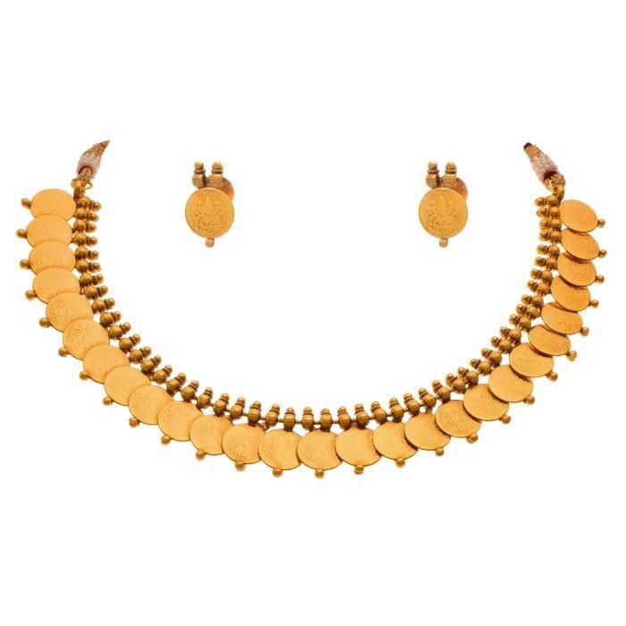 Femmes Temple traditionnel ethnique Laxmi Déesse Coin un gramme dor plaqué Designer Set collier pour NO1E5
