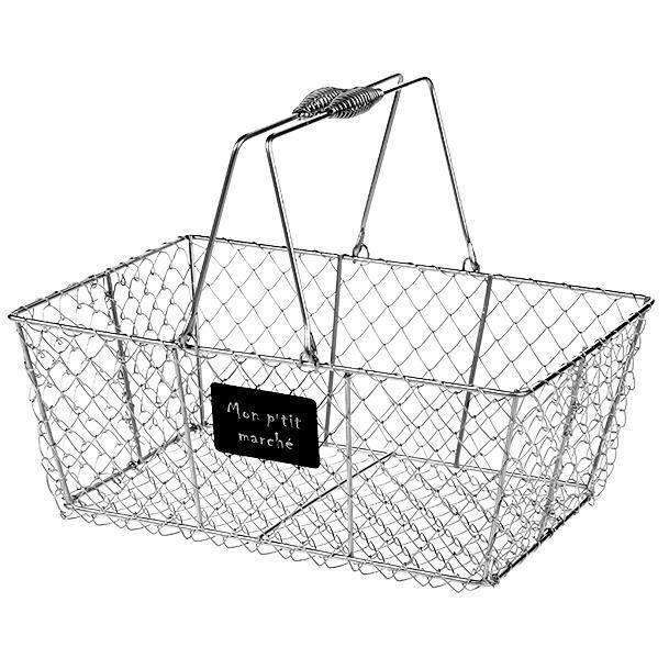 panier metallique rectangulaire argent en grillage avec anses mobiles une petite plaque portant. Black Bedroom Furniture Sets. Home Design Ideas