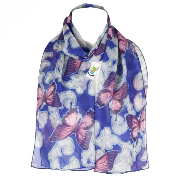80d8f9017b88 Foulard Écharpe Pour Femmes Butterflies - Royal Blue Bleu - Achat ...