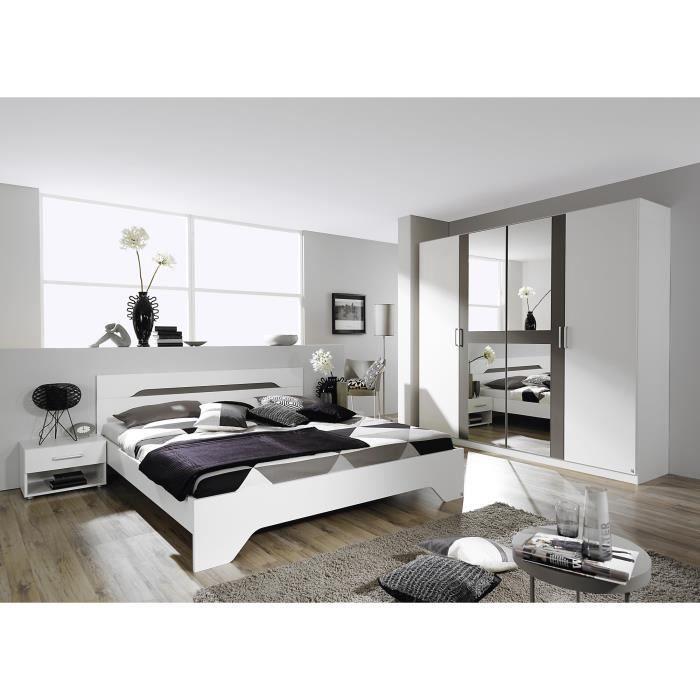 Chambre adulte design blanche et grise Rudie-180 x 200 cm - Achat ...