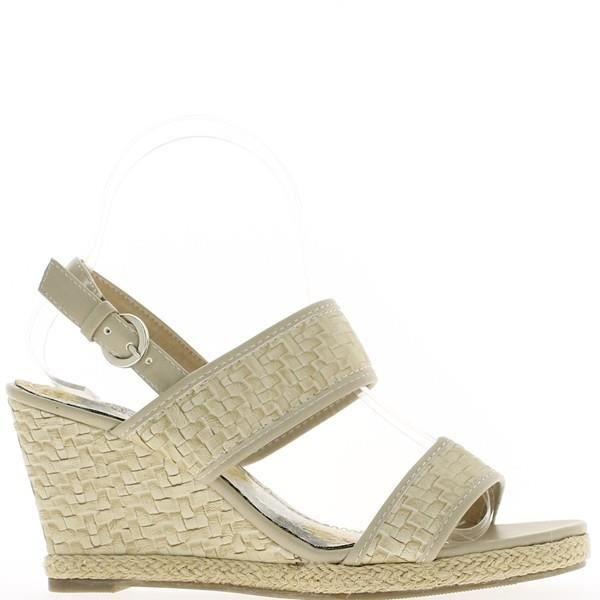 Sandales compensées beiges à tal...