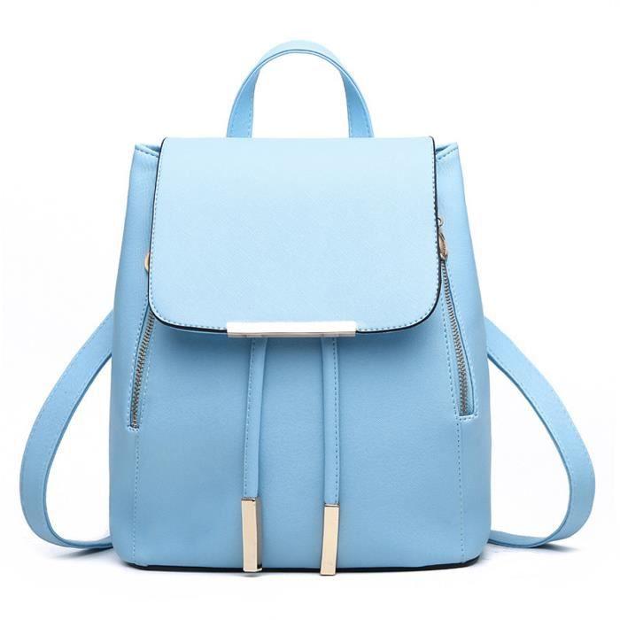 d0e2371b16 Sac à dos fille en cuir PU cartable sacoche ado... Bleu Bleu ciel ...