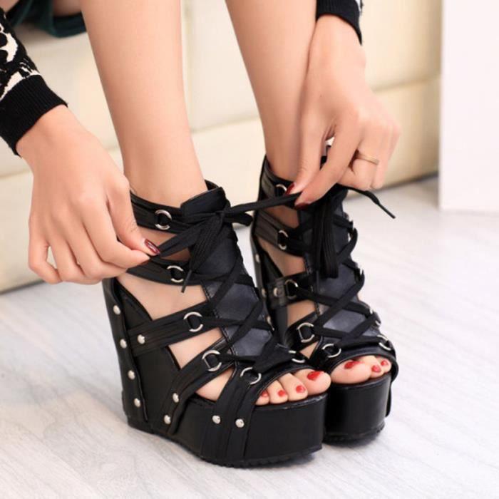 Sandales femme été Cross-Strap cales de la mode talons hauts