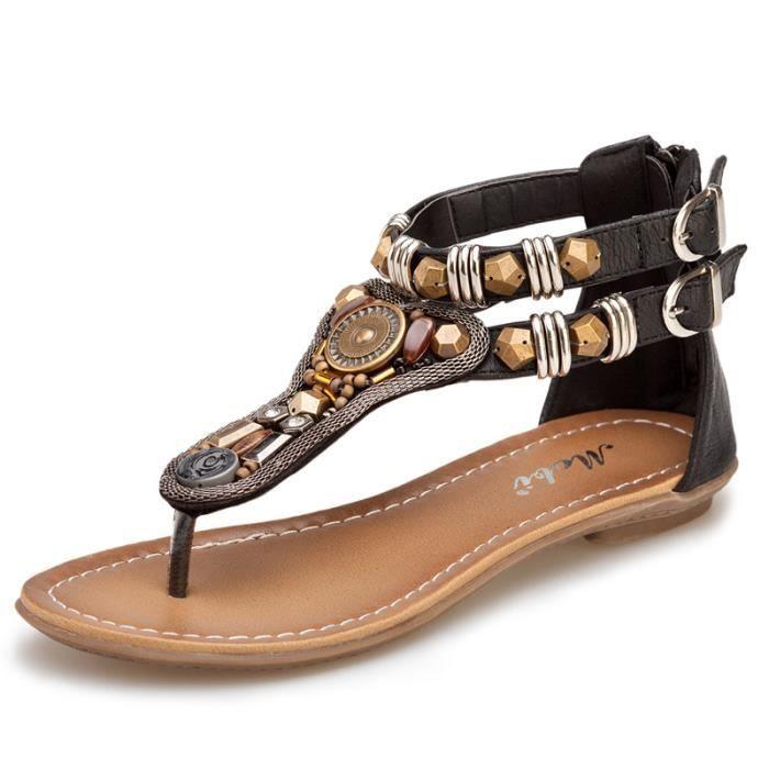 Sandales femme plat style romaine cheville métal rétro Bohème