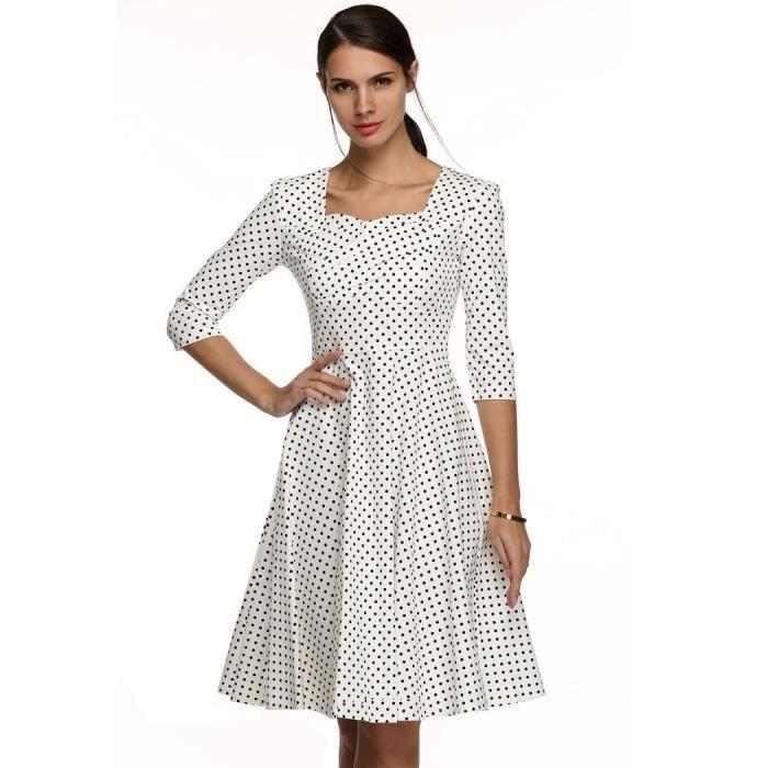 femmes robe élégantes Col carré manches 3-4 taille haute points imprimerCasual