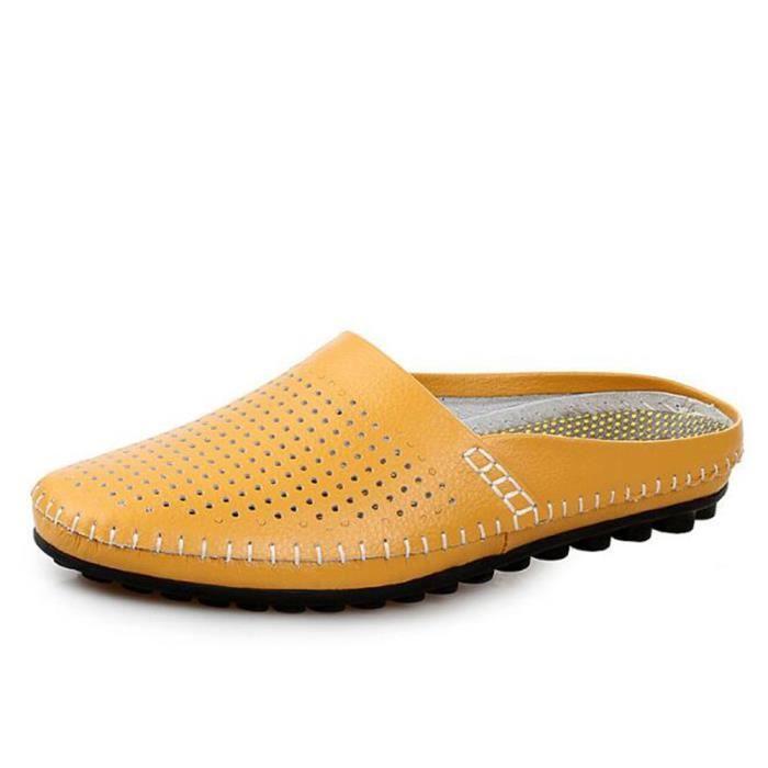 Chaussures Hommes Cuir Printemps Ete Mode Respirant détente Chaussure BBZH-XZ082Jaune39 1FzgKYm3
