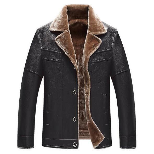 9ebab874552 OUTAKING 2018 Nouveau Homme Veste en cuir avec veste en velours pour hommes  d âge moyen Noir XS-XL