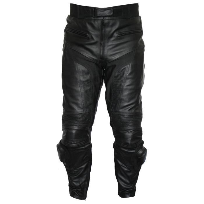 d43b2da1 German Wear - Pantalon de moto en cuir pour motard - Noir - Achat ...