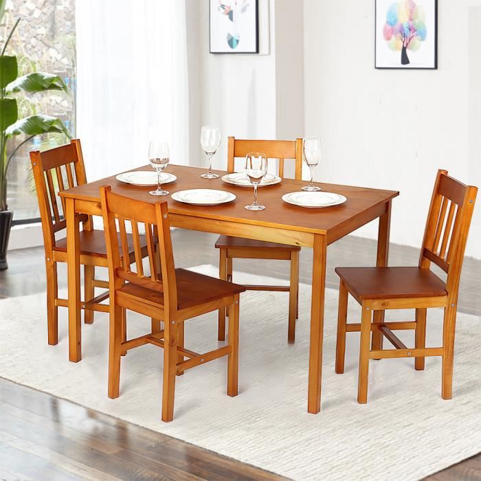 IKayaa Ensemble meubles à manger 1 Table + 4pcs Chaises Couleur miel ...