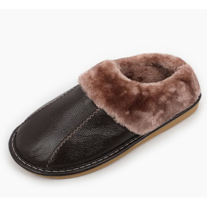 Winter Genuine Leather Slippers, Warm Faux Fur Lining Plush Mules Slipper, Closed Toe And Back House OT6II Taille-42