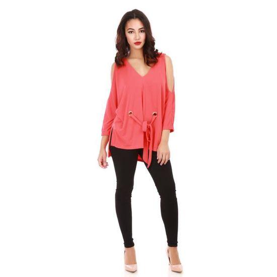 20f638f8ffb8 Blouse rouge épaule dénudées avec ceinture à nouer-S M Rouge Rouge - Achat    Vente chemisier - blouse - Cdiscount