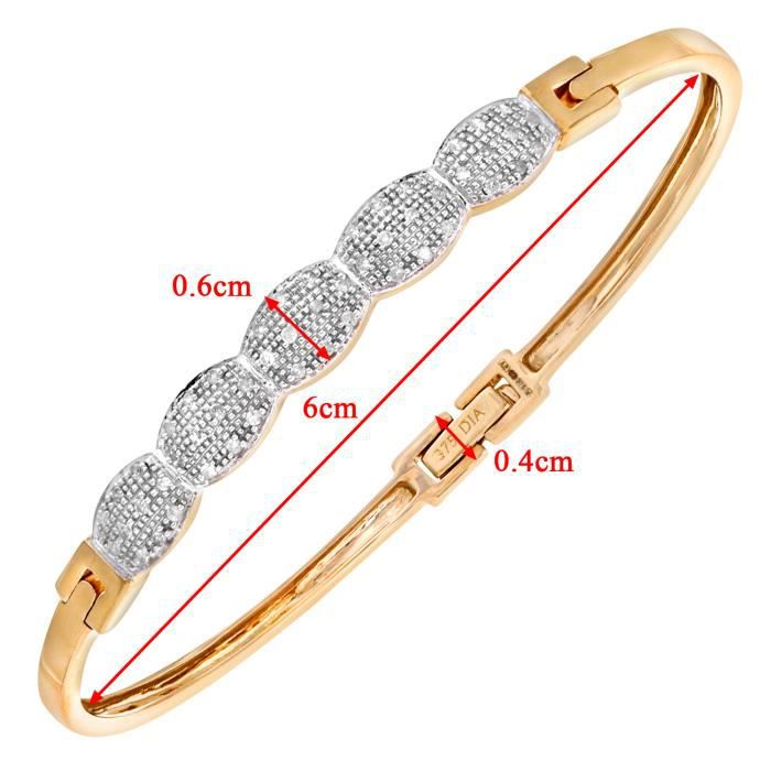Revoni - Bracelet jonc en or jaune 9 carats et diamants 0,25 carat, motif ovale - REVCDPBC01753Y