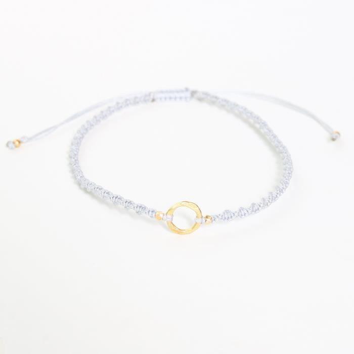 Womens Adjustable Friendship Bracelet Cotton String In Twist Design And Gold Plated On Brass RingV0WAZ