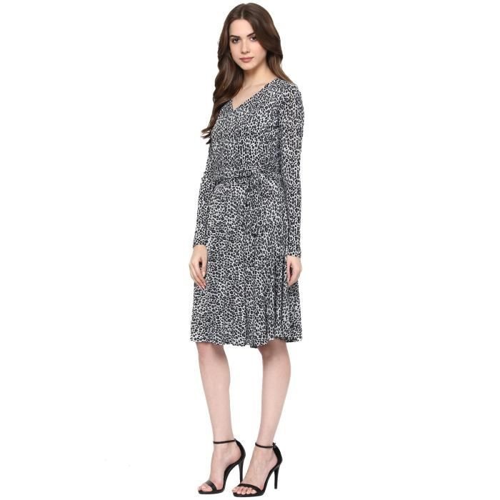 Womens Printed Grey Poly Lycra A-line Dress MIM94 Taille-40