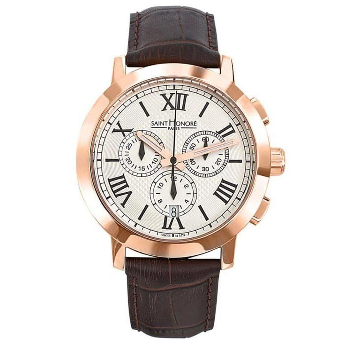 montre saint honor cuir marron achat vente montre montre saint honor cuir cdiscount. Black Bedroom Furniture Sets. Home Design Ideas