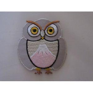 ACCESSOIRE CASQUE petit patch chouette hibou gris et rose  8 cm x 6