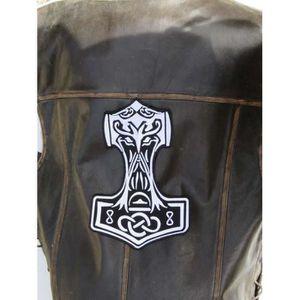 ACCESSOIRE CASQUE Grand patch dorsal marteau  de thor noir et blanc