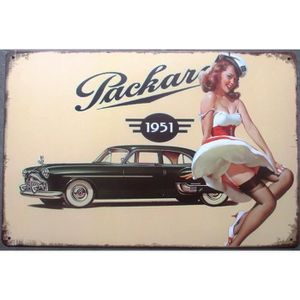 plaque pin up packard 1951 voiture us d co garage achat vente tableau toile pin m tal. Black Bedroom Furniture Sets. Home Design Ideas