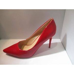 36d1f29770692 Escarpins rouge verni à talon fin 9cm Rouge ROUGE - Achat   Vente ...