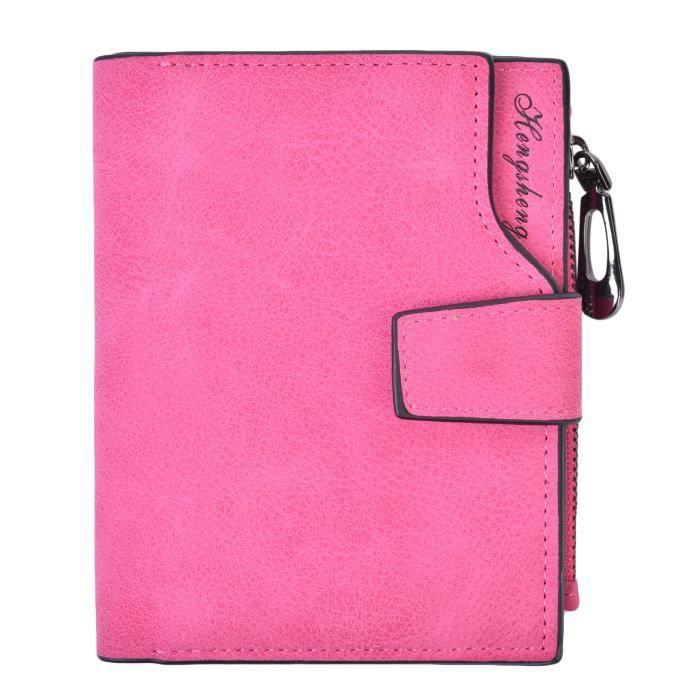 Femmes Wallet Card Holder Organizer petit Pu cuir Zipper Porte-monnaie dembrayage DGQ7C
