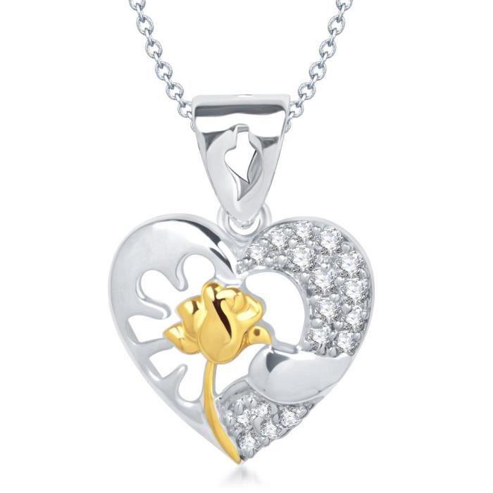 Bijoux Femmes Vk Rose en forme de coeur rhodié Pendentif - P1306r [vkp1306r] PL0M9