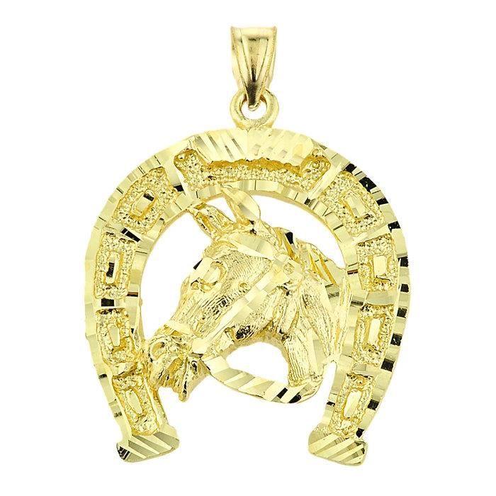 Pendentif 10 ct Or Tête de cheval 471/1000 Avec de fer à Cheval-