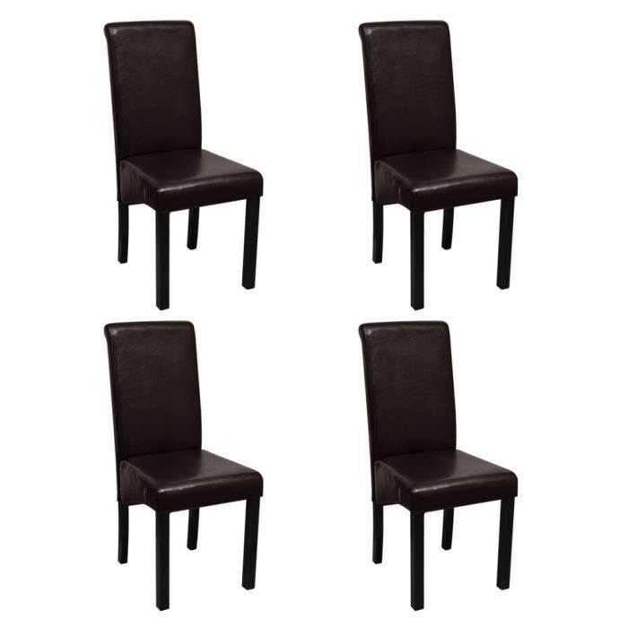 Lot de 4 chaise en cuir marron achat vente lot de 4 - Chaise en cuir marron ...