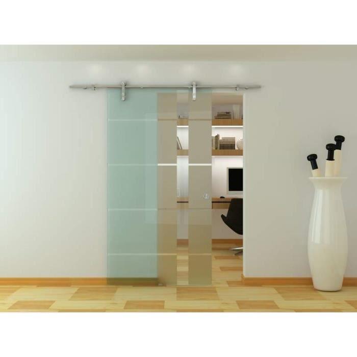 porte vitrée intérieur système coulissant en verre trempé satin