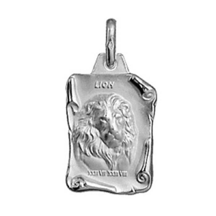 Pendentif + Chaîne 50cm Médaille Signe Astrologique Zodiaque Lion - Argent Massif 925°°° Rhodié - Neuf