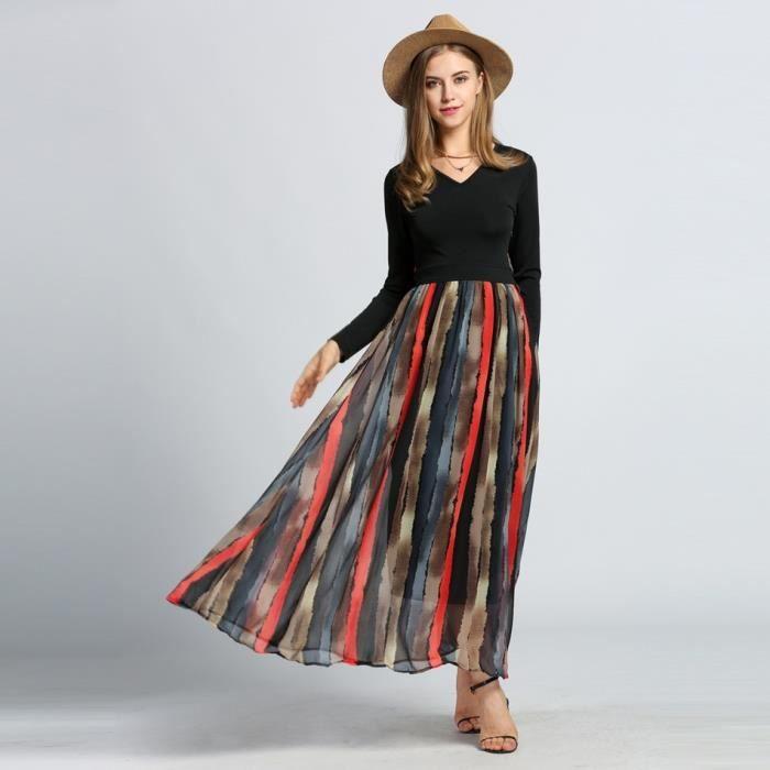 longue Maxi v robe col mousseline longues manches Patchwork Mode à rayures femme f7wSxnq7C6