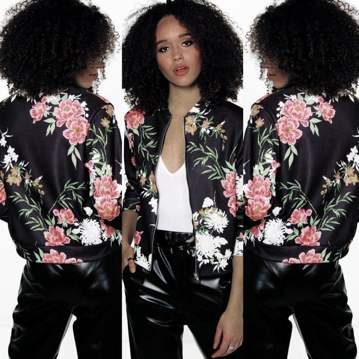 veste noire fleurie femme les vestes la mode sont populaires partout dans le monde. Black Bedroom Furniture Sets. Home Design Ideas