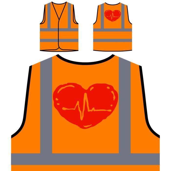 With À Protection heart Haute Ha Wave Veste De Heartbeat Visibilité Personnalisée Orange 78Iw4qB