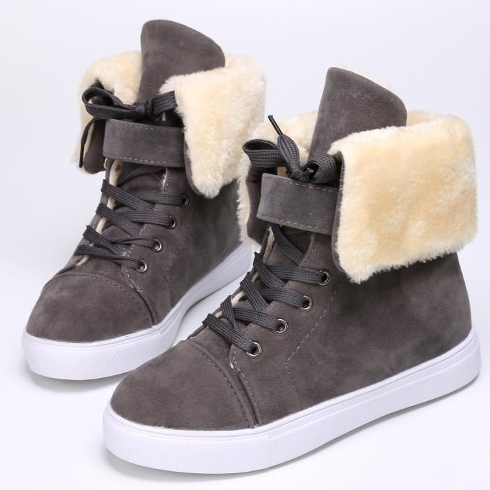 Les femmes de mode hiver neigent le pli chaud de lacet vers le haut en molleton doublé talon plat chaussures de botte de cheville R2gaKxs7gs