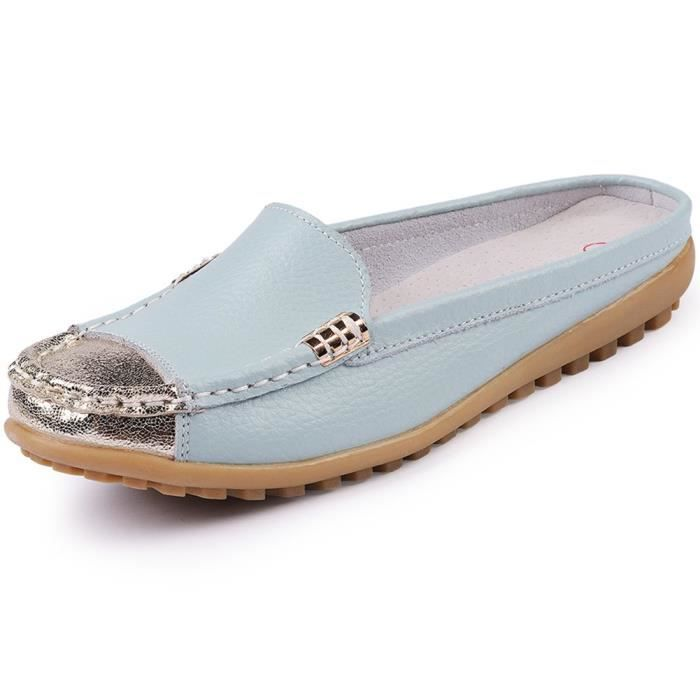 Girls' Slip On Backless Loafers Casual Leather Mule Shoes O3i5w Taille-39 1-2