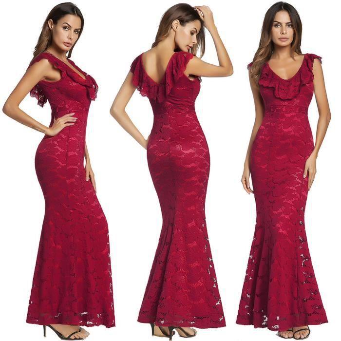 Frankmall®Femme sans manches floral dentelle formelle longue Party bal robe de soirée Rouge CQQ71219345RD