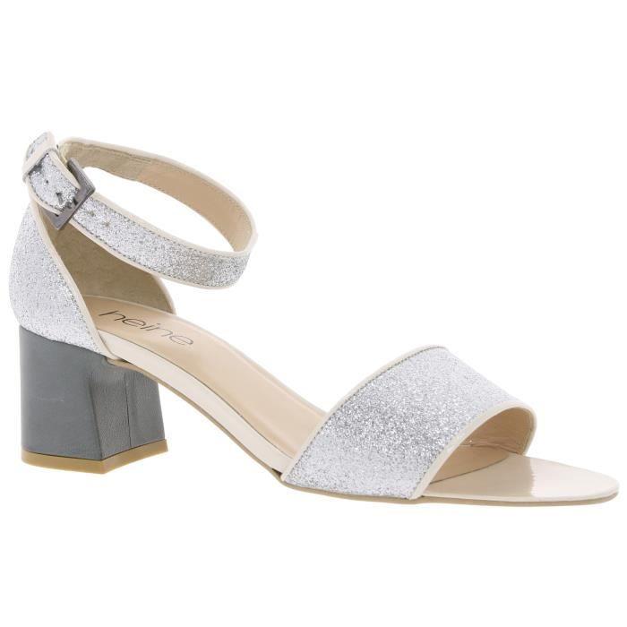 Sandales dames sandales paillettes argent heine