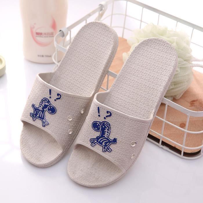 Les pantoufles de bain plates anti-dérapantes de sandales d'animaux d'été de mode pour le mâle SJF80309732GY Gris