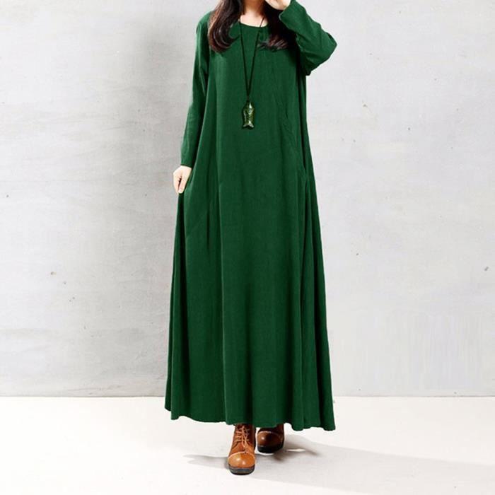 80dd703a966 Plus Couleur Coton Taille En Pur Et Lin Robe Vrac Le Femmes vert Poche  Longue De qwtU0