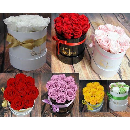 Boite A Fleurs Avec Bouquet De Roses 9 11 Roses Conserve Duree De