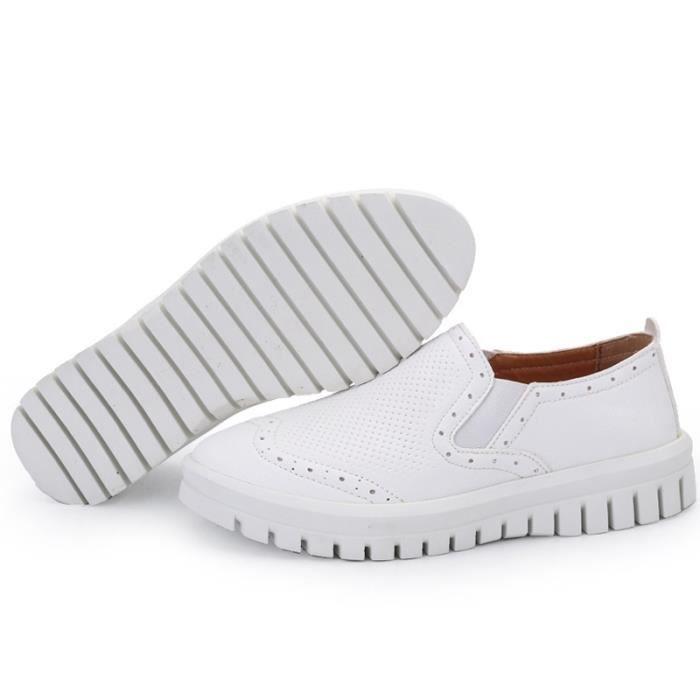 chaussures multisport Femme Plate-forme de coréenne douce sport en cuir Souliers simples de femmeblanc taille6.5