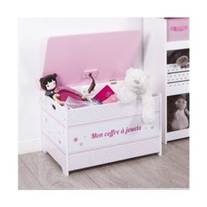 COFFRE À JOUETS Coffre à jouets rose en bois Autres Rose, Blanc