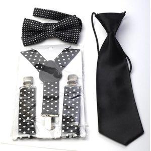 70c2e0e225229 Set Garçon Bretelles + Cravate + Noeud papillon Noir Pois Blanc Noir ...