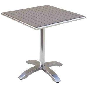 Table Jardin En Aluminium Avec Plateau En Resine Wood Coloris Havane