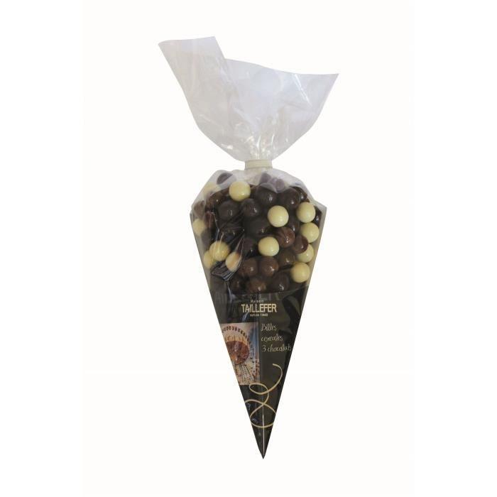 MAISON TAILLEFER Billes de Céréales Enrobées aux Trois Chocolats Maxi Cornet 300g