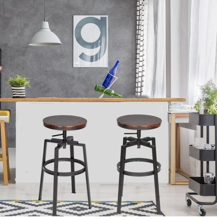 Chaises Lot De En 2 Métal Mdf Furniturer Tabourets Bar Hauteur Réglable j54ARLq3