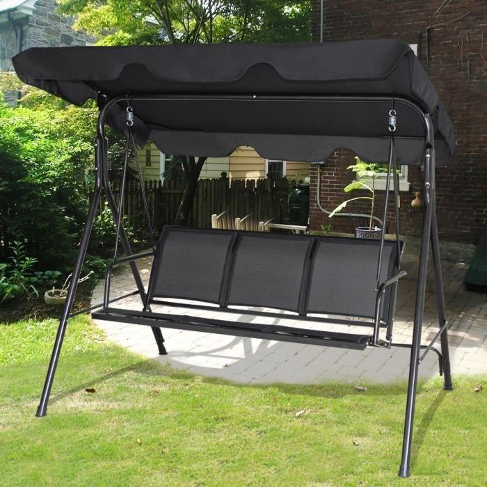 Balancelle de Jardin 3 Places avec Toit Imperméable en Textilène à  l'Extérieur Balançoire Jardin Réglable pour Balcon Terrasse Noir